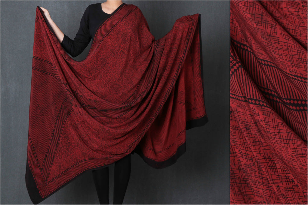 Special Pure Crepe Silk Bagh Hand Block Print Natural Dyed Dupatta