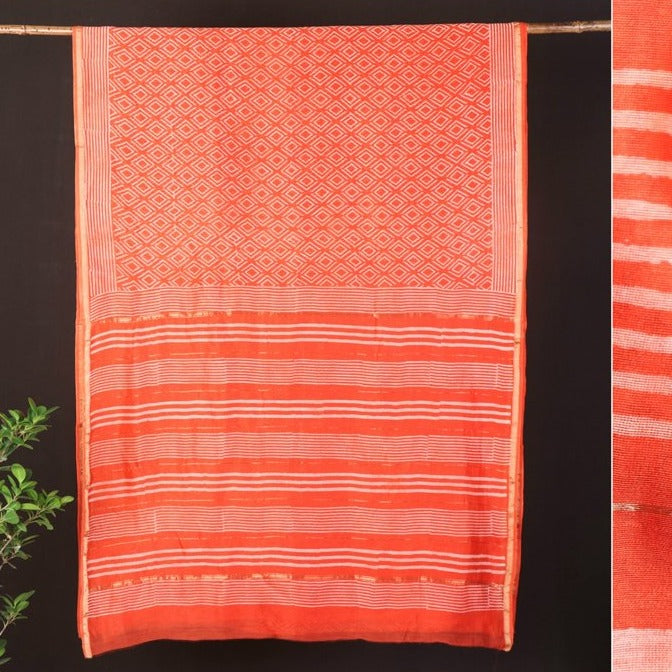 Hand Block Printed Chanderi Silk Saree with Zari Border