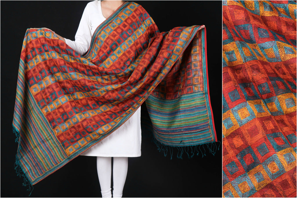 Special Kantha Hand Embroidered Handwoven Tussar Silk Block Printed Dupatta