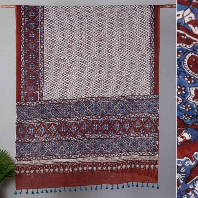 Sufiyan Khatri Special Ajrakh Block Print Mul Cotton Natural Dyed Saree