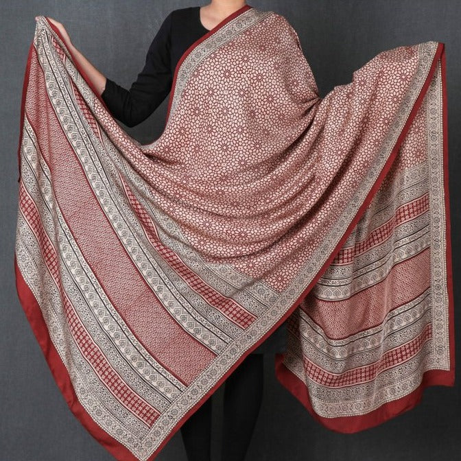Special Pure Mulberry Silk Bagh Hand Block Print Natural Dyed Dupatta
