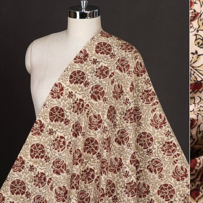 Original Pedana Kalamkari Hand Block Printed Natural Dyed Pure Cotton Fabric