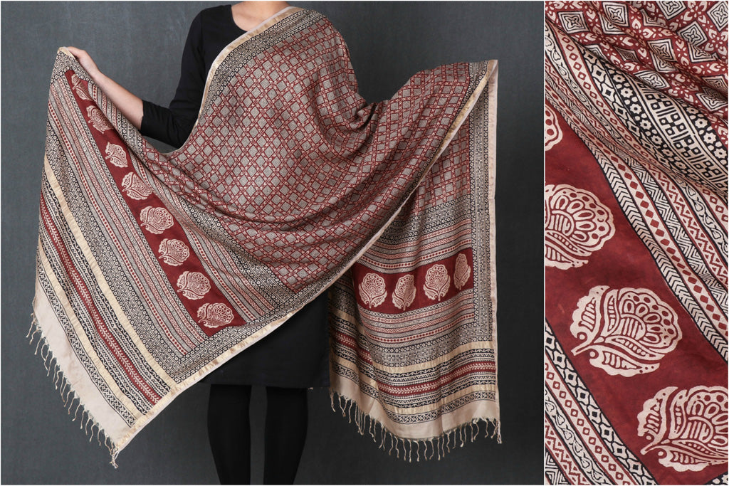 Special Handloom Pure Mulberry Silk Bagh Hand Block Print Natural Dyed Dupatta