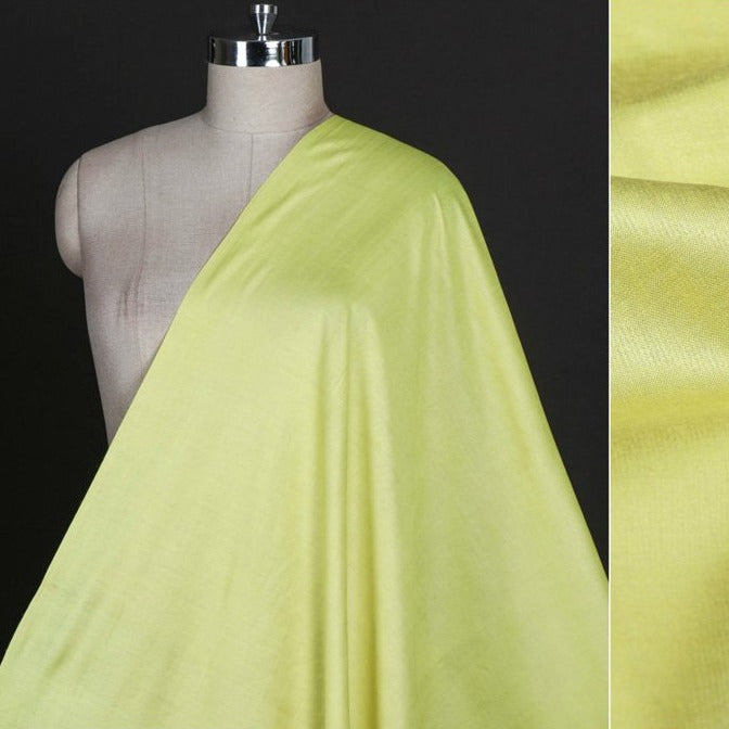 Lime Yellow - Vidarbha Tussar Silk Cotton Handloom Fabric