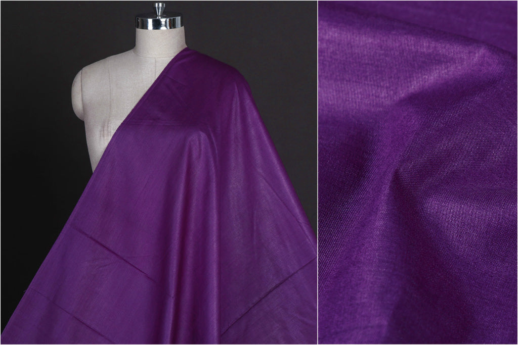 Purple - Vidarbha Tussar Silk Cotton Handloom Fabric