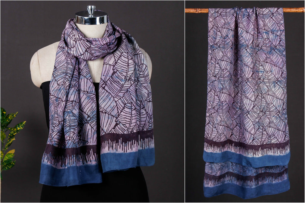Canopy - Bindaas Art Block Print Handspun Handwoven Soft Mulberry Silk Stole
