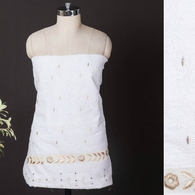 Special Chikankari with Parsi Style Embroidered Cotton Kurta Material