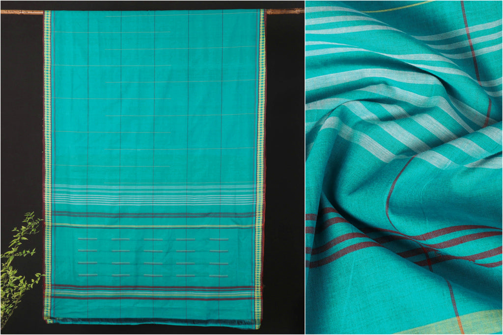 Mangalgiri Godavari Handloom Cotton Saree with Blouse by DAMA