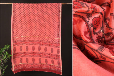 Sanganeri Hand Block Printed Chanderi Silk Saree with Zari Border
