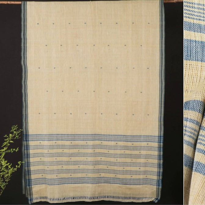 Srikakulam Jamdani Buti Natural Dyed Handloom Cotton Saree by DAMA