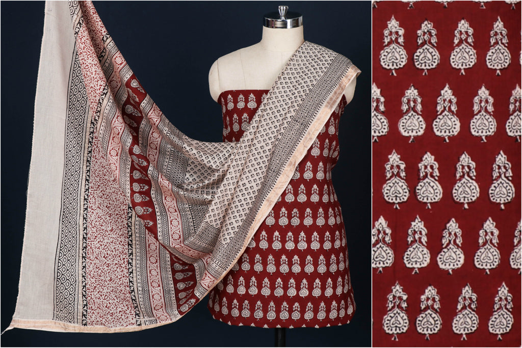 3pc Bagh Block Print Natural Dyed Maheshwari Silk Suit Material Set