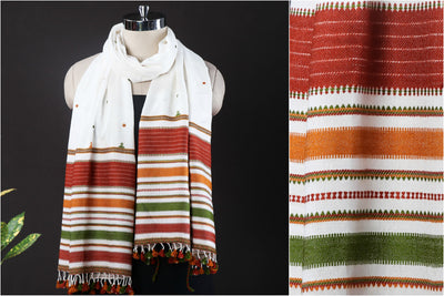 Kutch Handwoven Mirror Work Cotton Stole with Tassels