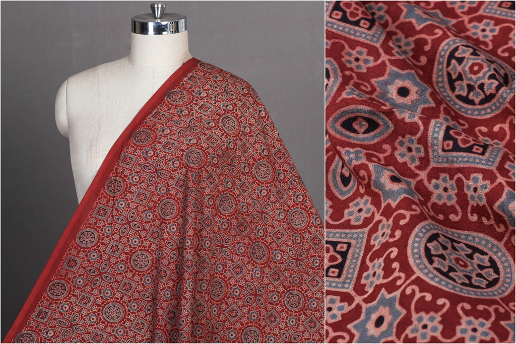 Ajrakh Hand Block Printed Natural Dyed Cotton Fabric
