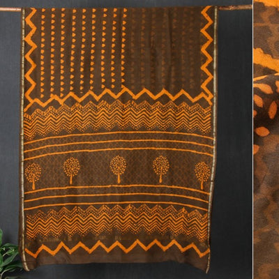 Bagru Hand Block Printed Chanderi Silk Saree with Zari Border