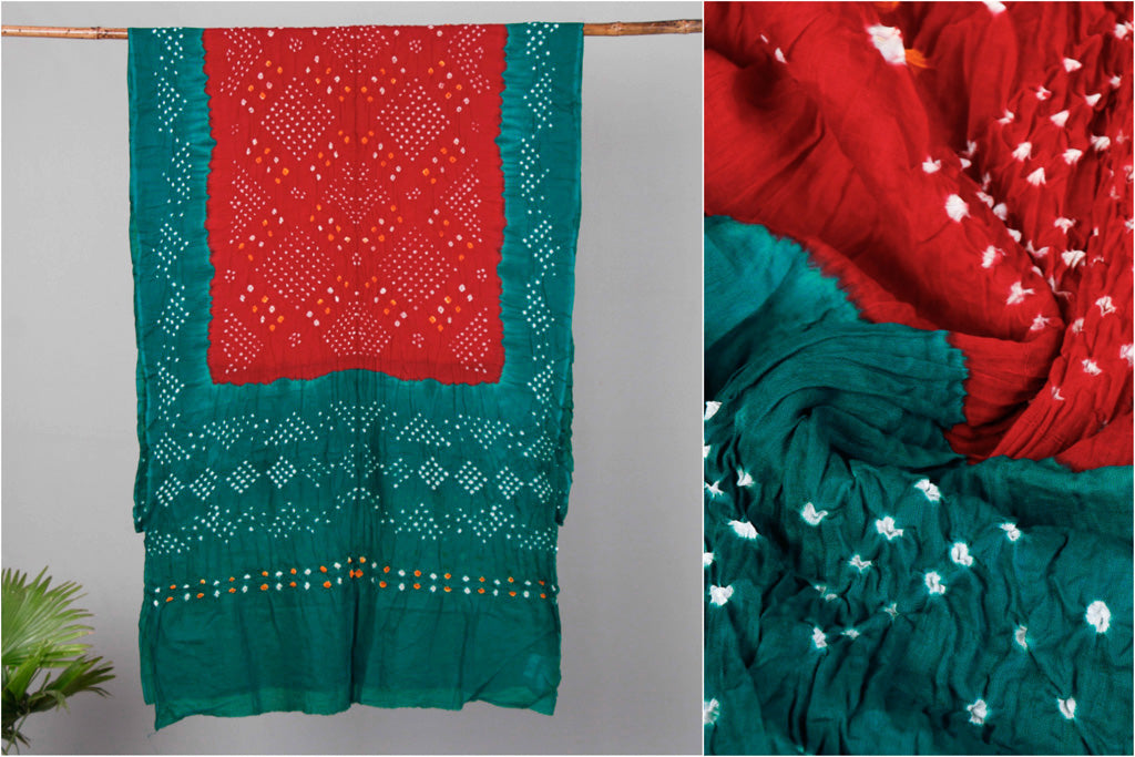 Kutchi Bandhani Cotton Saree with Blouse Piece