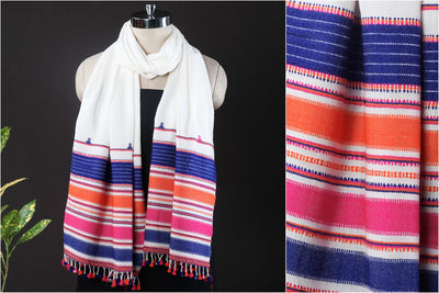 Kutch Handwoven Cotton Stole with Tassels