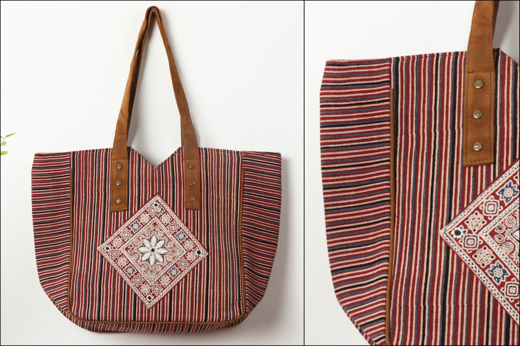 Kantha Work Ajrakh Handblock Printed Shoulder Bag