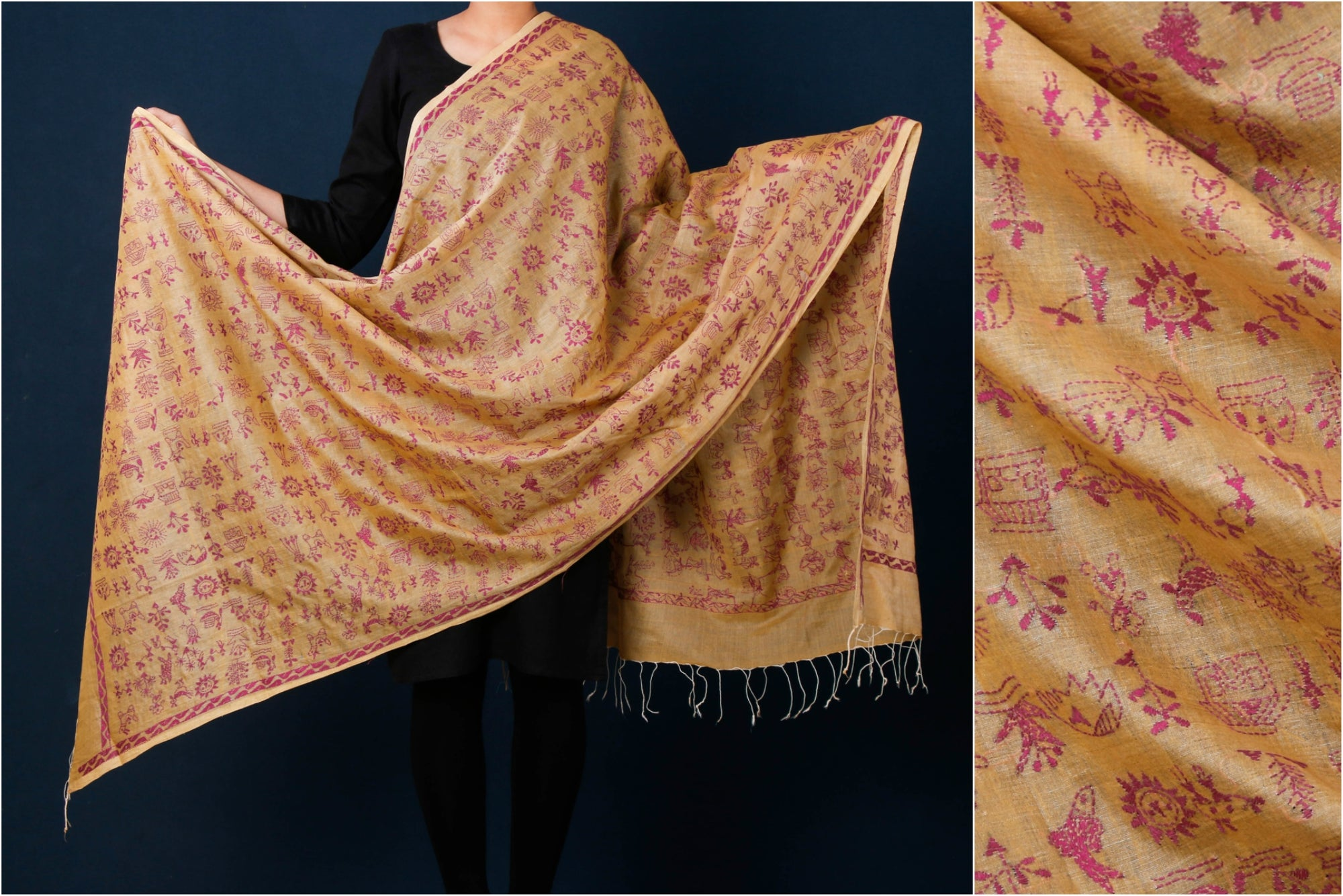Bengal Kantha Embroidered Silk Cotton Handloom Dupatta
