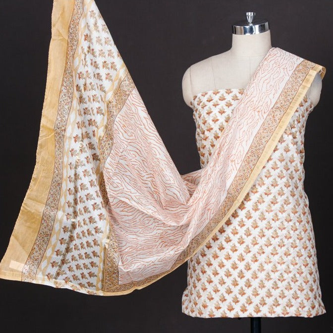 Sanganeri Block Printed Chanderi Silk 3pc Suit Material Set with Zari Border