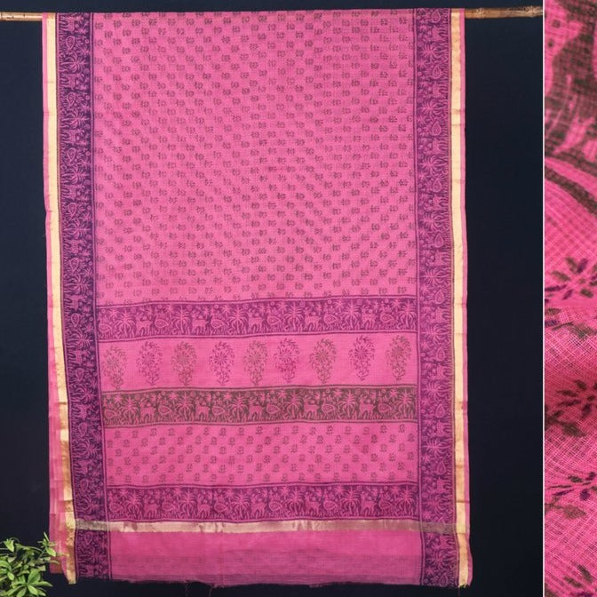 Pure Kota Doria Hand Block Print Cotton Saree with Zari Border