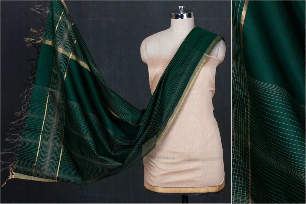Original Maheshwari Silk Pure Handloom 2pc Suit Material Set