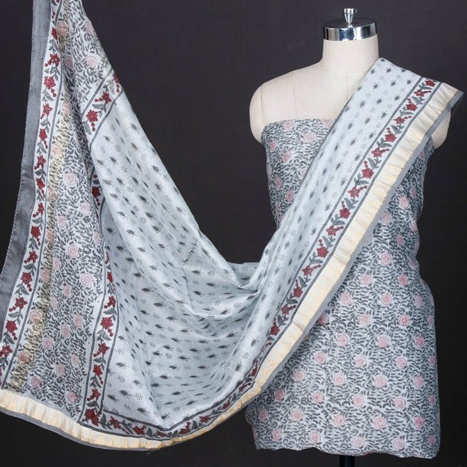 Sanganeri Block Printed Maheshwari Silk 3pc Suit Material Set with Zari Border