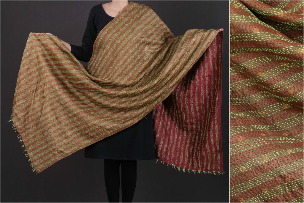 Bengal Kantha Embroidered Reversible Tussar Silk Handloom Dupatta