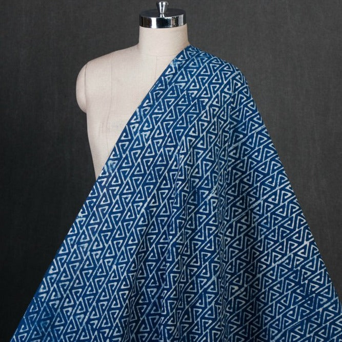 Indigo Hand Block Printed Pure Cotton Fabric
