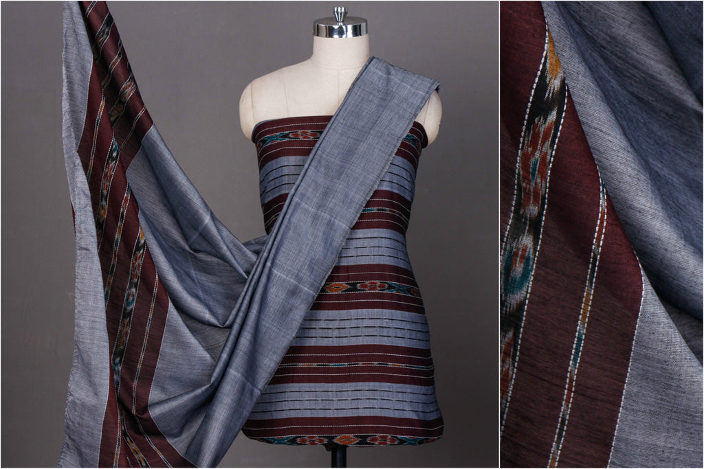 Sambalpuri Ikat Handwoven Cotton 3pc Suit Material Set