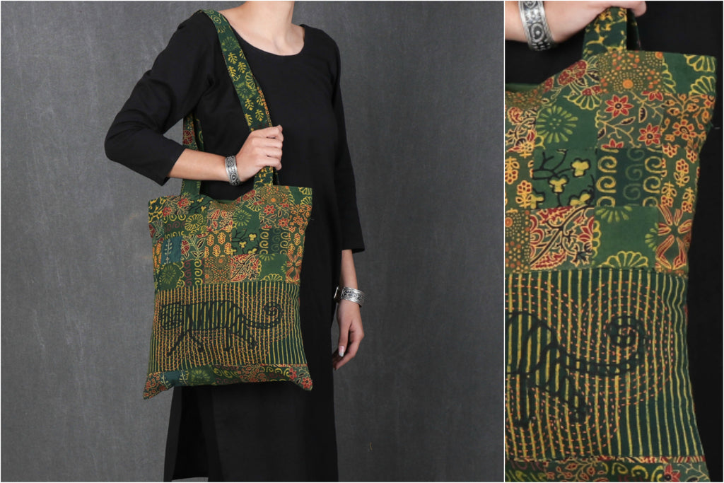 Kantha Work Block Print Patchwork Cotton Shoulder Bag