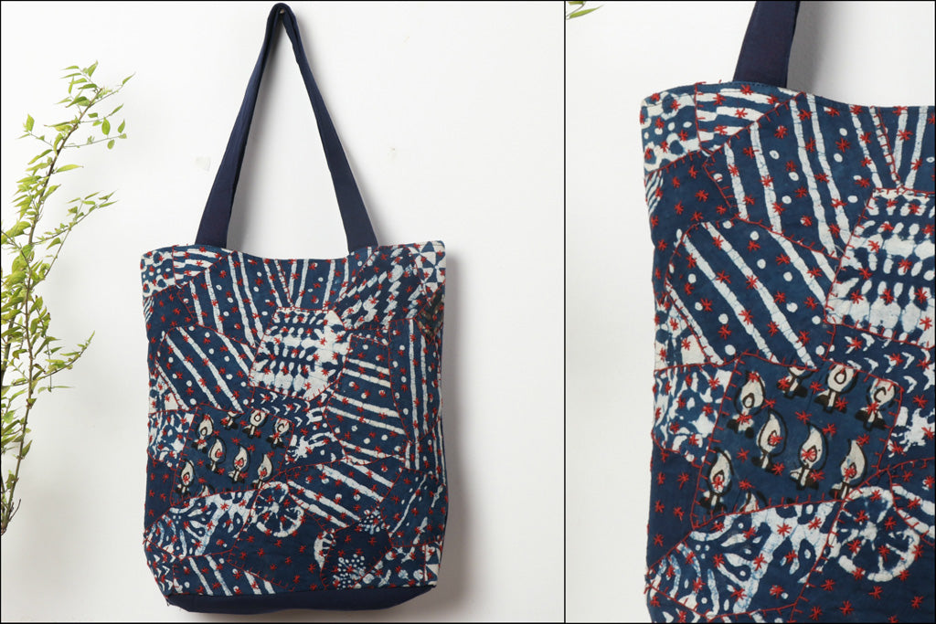 Kantha & Patch Work Ajrakh Handblock Printed Shoulder Bag