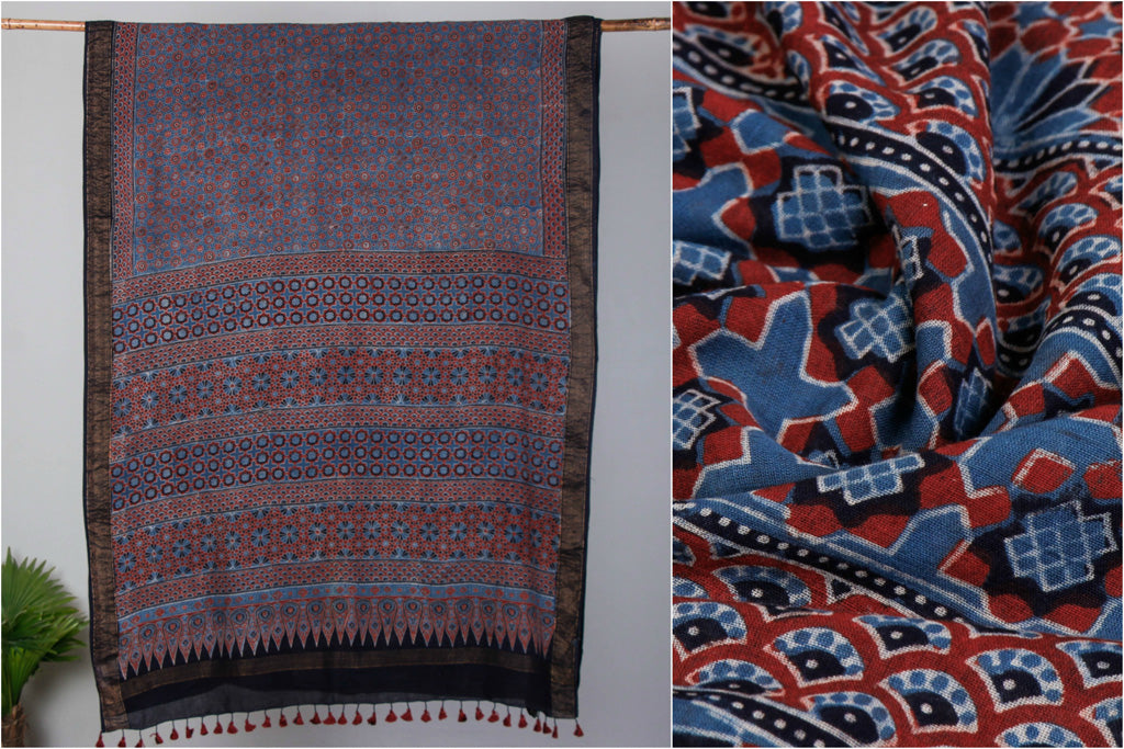 Sufiyan Khatri Special Ajrakh Block Print Cotton Natural Dyed Saree