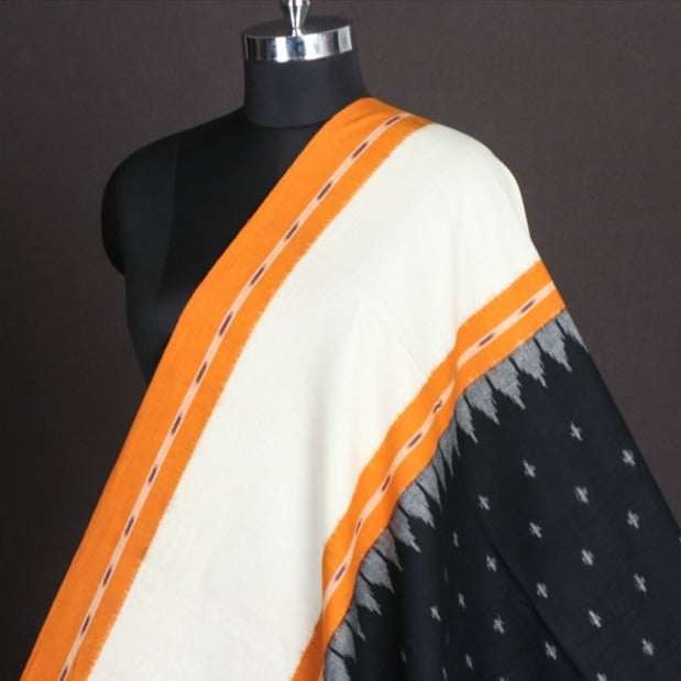 Pochampally Double Ikat Pure Handloom Cotton Fabric with Border