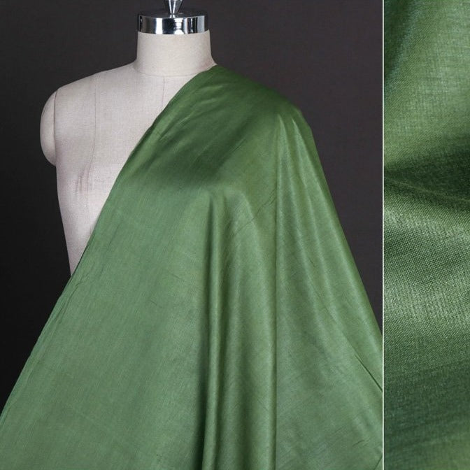 Dark Green - Vidarbha Tussar Silk Cotton Handloom Fabric