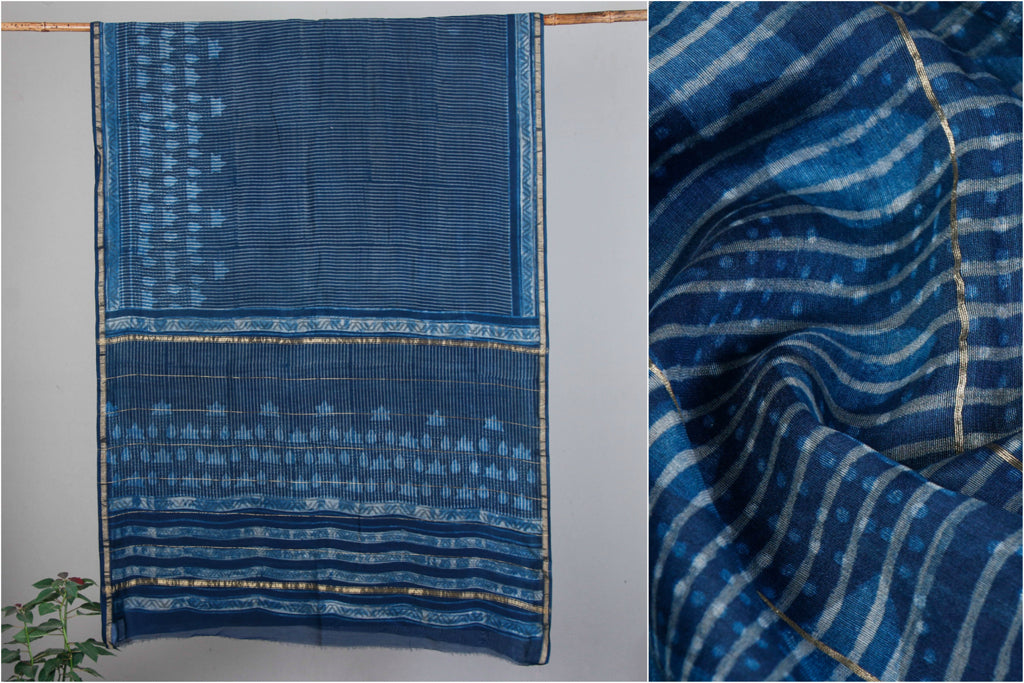 Traditional Akola Hand Block Print Chanderi Silk Saree with Zari Border