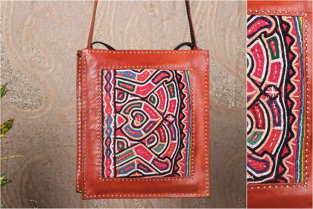 Handcrafted Kutchi Embroidery Leather Sling Bag