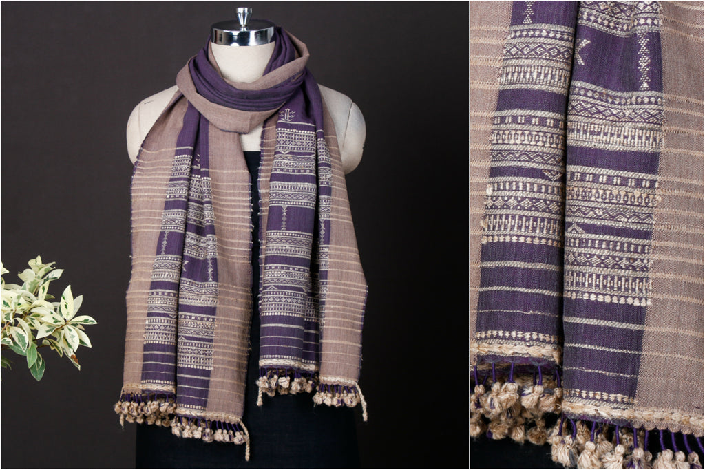 Kutchi Handwoven Traditional Silk x Wool Cheda Border Stole