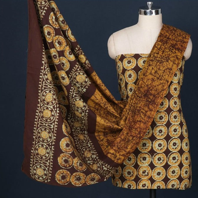 3pc Hand Batik Printed Cotton Suit Material Set From Kutch