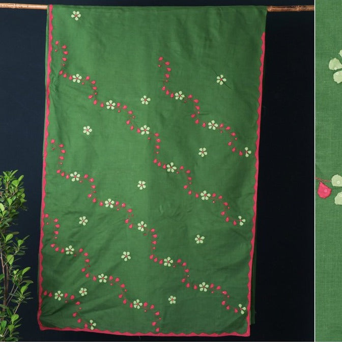 Patti Kaam Applique Work Pure Cotton Saree from Rampur
