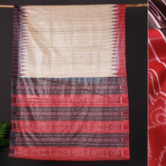 Traditional Gopalpur Pure Handspun Ghicha Silk Ikat Handloom Saree