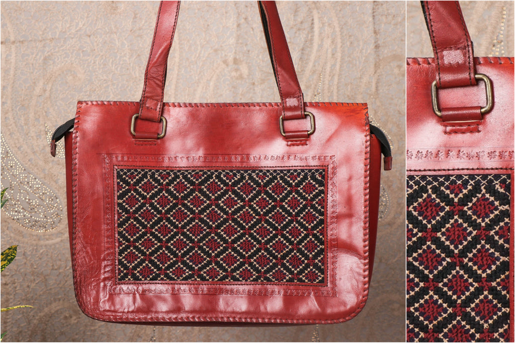 Handcrafted Kutchi Embroidery Leather Hand Bag