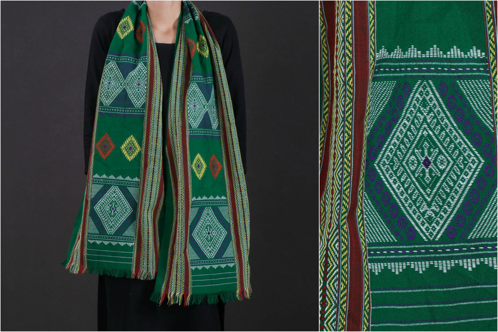 Traditional Pure Handloom Weave Cotton Rabha Pajar / Stole from Assam