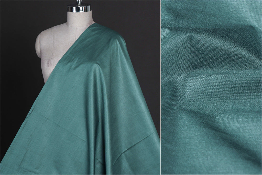 Slate Green - Vidarbha Tussar Silk Cotton Handloom Fabric