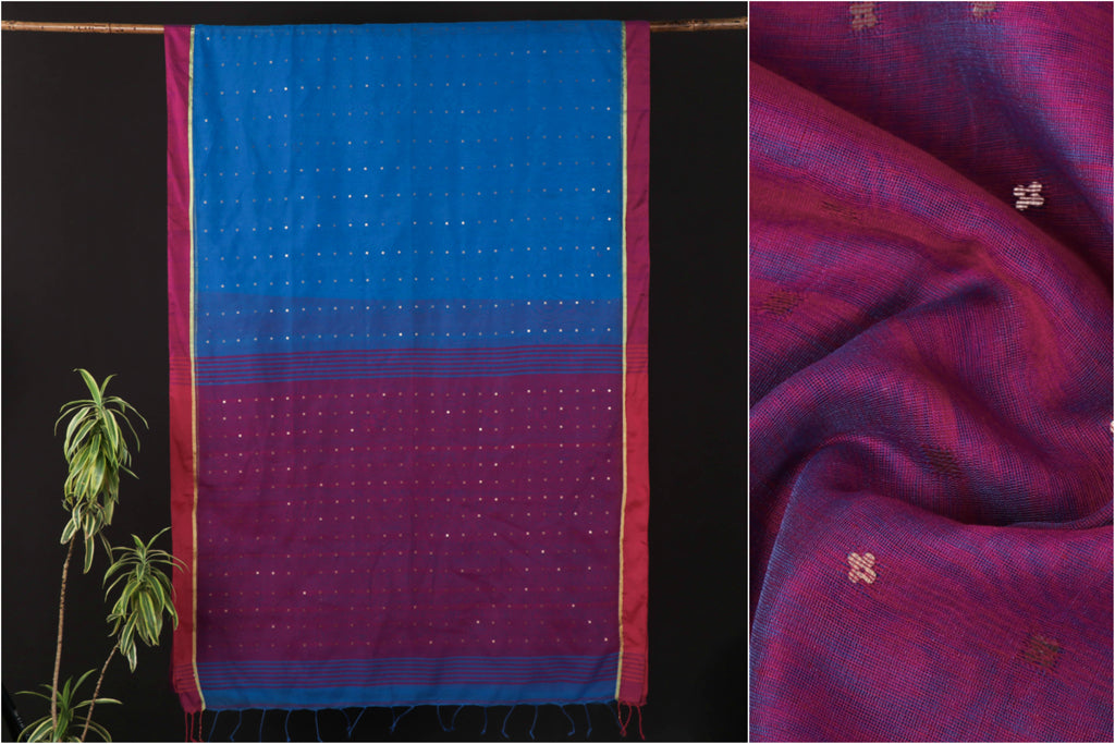 Handloom Silk Mercerised Cotton Sequin Work Saree from Nadia