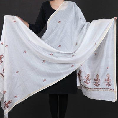 Handloom Chanderi Silk Kashidakari Hand Embroidery Dupatta with Zari Border