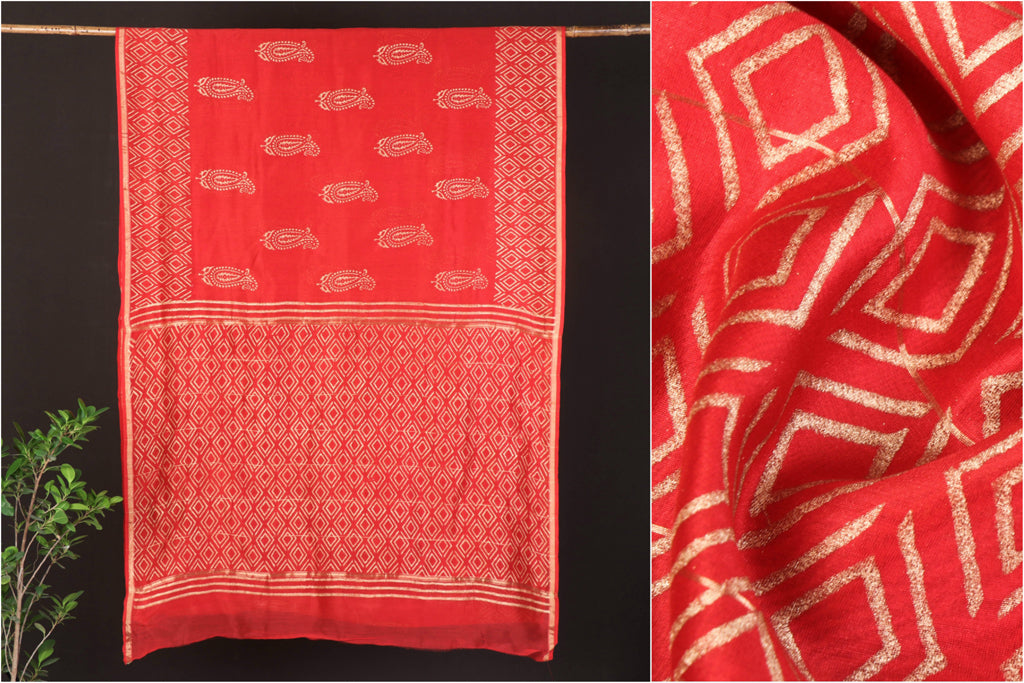 Sanganeri Gold Block Printed Chanderi Silk Saree with Zari Border