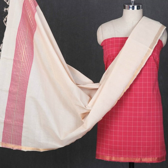 Original Mangalgiri Handloom Cotton Checks 3pc Suit Material with Zari Border