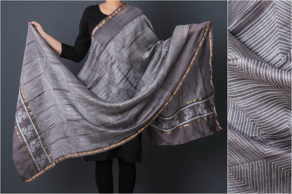 Shibori Tie & Dye Chanderi Silk Handloom Dupatta with Zari Border