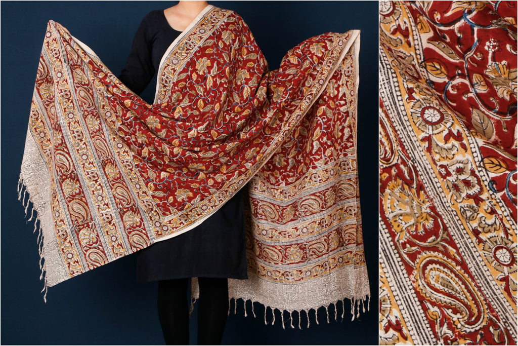 Mangalgiri Cotton Kalamkari Block Printed Natural Dyed Handloom Dupatta with Tassels by DAMA