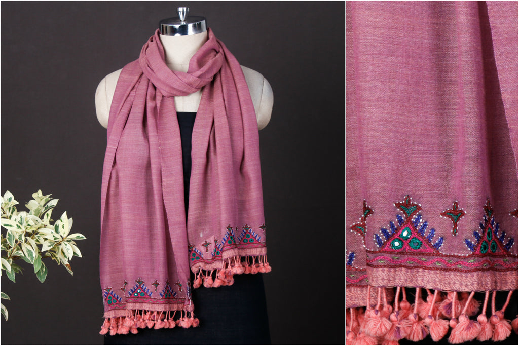 Ahir Bakhiya Hand Embroidered Pure Wool Stole